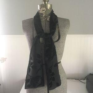"Lane Bryant scarf in black with velvet leaves 60"""